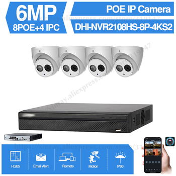 Dahua 6MP 8+4 Security CCTV Camera Kit With NVR2108HS-8P-4KS2 IP Camera IPC-HDBW4631C-A P2P Surveillance System Easy To Install