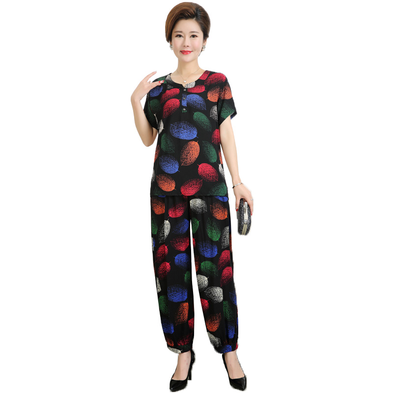Middle-aged And Elderly Women's Sets Spring Summer Short Sleeve T-shirt & Trousers 2 Pcs  Pants Suits Mom Elegant Home Service
