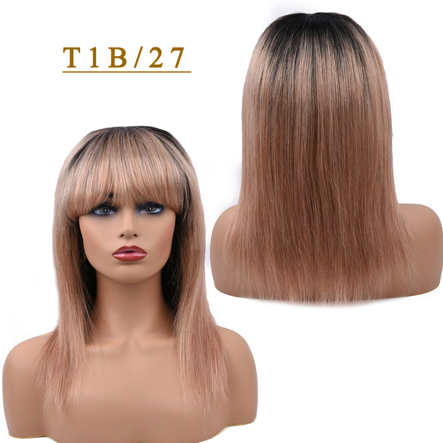 T1B/27 Blonde Human Hair Wigs Straight Hair Wig With Bang For Black Women Ombre 1B/118 Red 99J Burgundy Dorisy Non Remy Wig