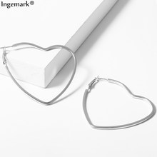 2019 Korean Silver Love Heart Hoop Earring for Women Fashion Temperament Large Hollow Iron Round Sweet Earrings Wedding Jewelry(China)