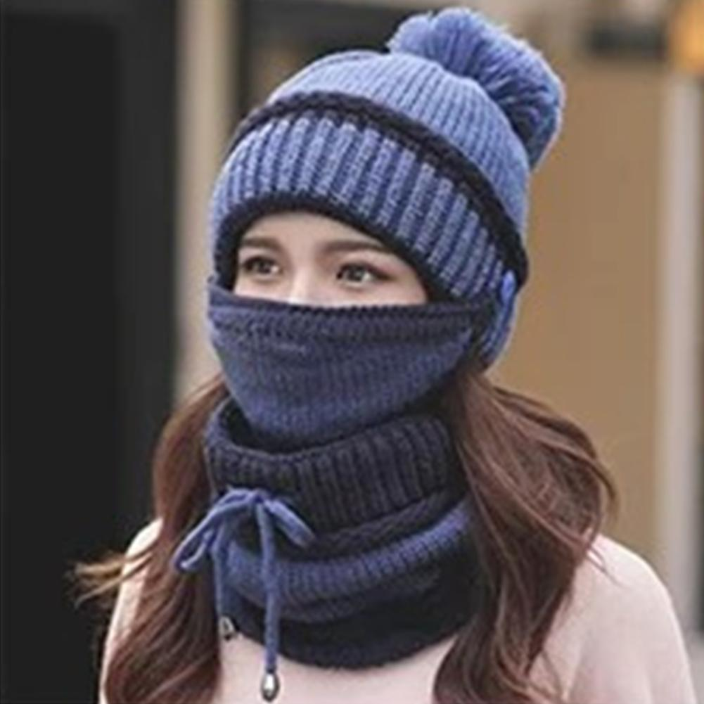 3-in-1 Winter Beanie Scarf Set Thicken Warm Woman Hat Scarf Windproof Plus Velvet Skullies Beanie Neck Cover