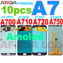 10 Pcs Super Amoled A7 Lcd For Samsung A7 2015 2016 2017 2018 A700 A710 A720 A750 LCD Display Touch Screen Digitizer Replacement tft a750 lcd for samsung galaxy a7 2018 lcd sm a750f a750f a750 display with frame touch screen digitizer replacement parts