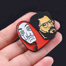 Spain TV La Casa De Papel Brooch Pins Salvador Dali Professor Red Mask Figure Badge For Men Women Lapel Bag Pin Jewelry