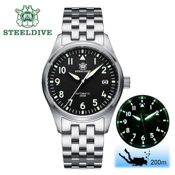 steel dive watch automatic men NH35 mechanical diver 200m sapphire watches self wind pilot