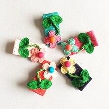 1 Pcs/lot Girls Polka Dots Hair Clip Little Knitting Flower Hairclips Leaves Barrettes Childrens Hairpins