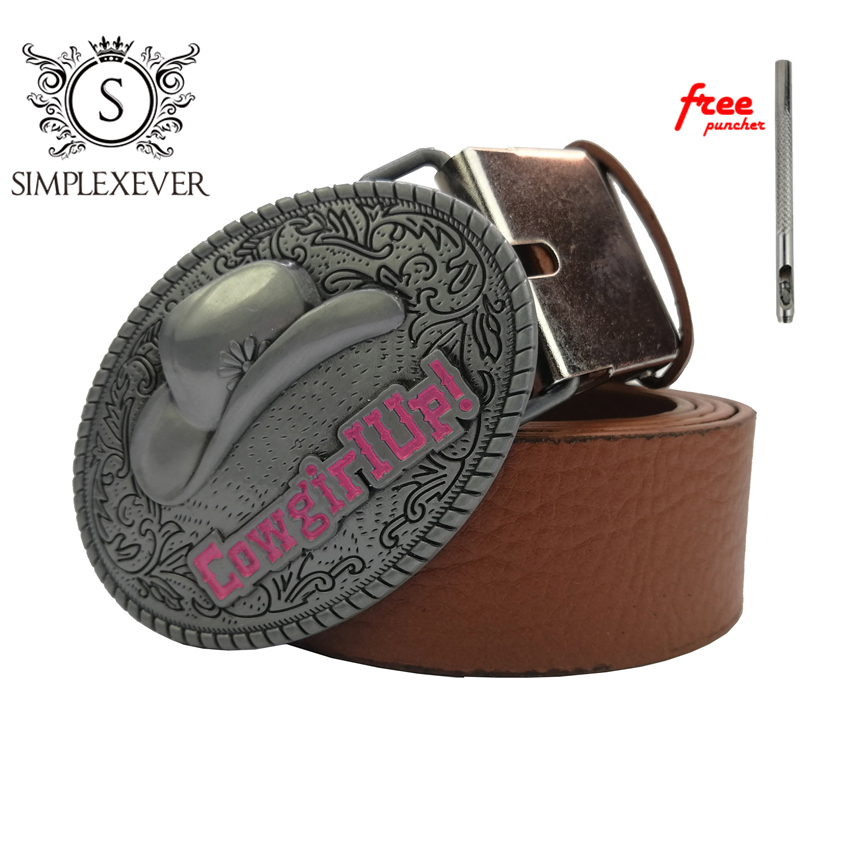 Cowgirl Up Oval Belt Buckle For Men Silver Cowboy Metal Belt Buckle With Belt Jeans Accessories Drop Shipping