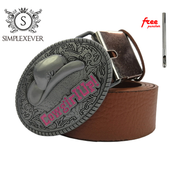 Cowgirl Up Oval Belt Buckle for Men Silver Cowboy Metal Belt Buckle with Belt Jeans Accessories Drop Shipping недорого