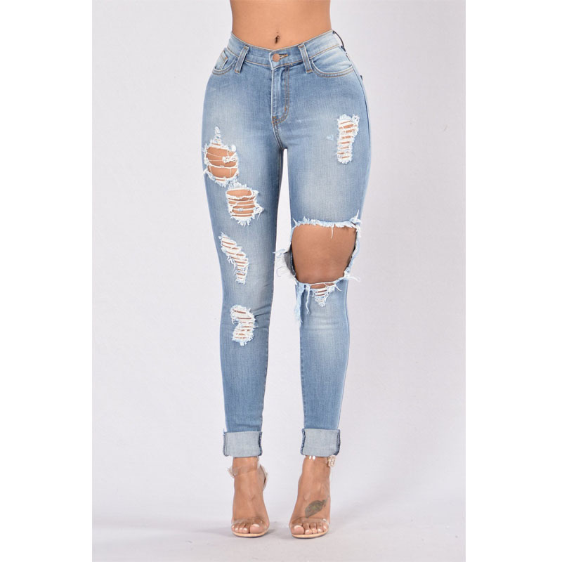 Women's clothing Jeans Sexy elastic Slim fashion slim denim pants for ladies with torn holes pencil jeans for women