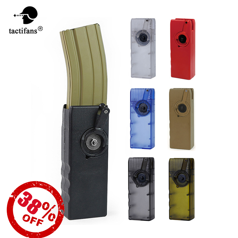 Tactical Airsoft Paintball 1000rd Rounds Plastic BB Speed Loader M4 Hand Crank Military Adaptor AK MP5 G36 Magazine Bullet Clip