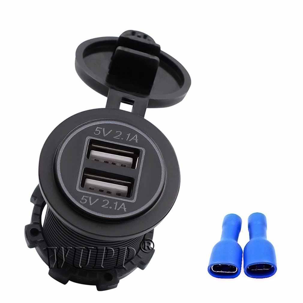 مزدوج فتحة الهاتف شاحن الطاقة 5 فولت 4.2A المزدوج حلقة إضاءة USB مخرج طاقة For12 24 فولت لسيارة دراجة نارية قارب RV يخت