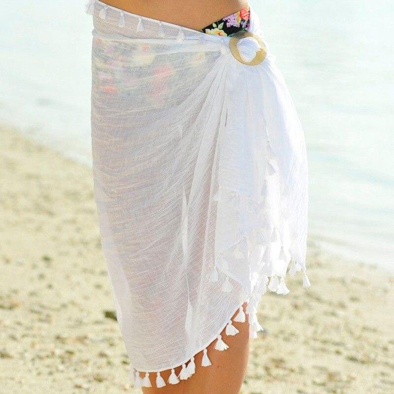 Europe And America Summer Beach Towel Xue Fang Zhou Transparent Tassel Lace Sexy Skirt Belt Buckle Plate