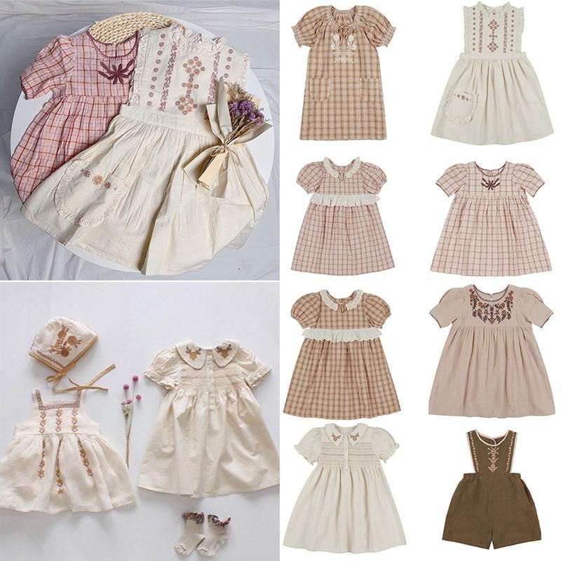 EnkeliBB APO Brand Children Girls Summer Cotton Dress Beautiful Vintage Kids Dress Short Sleeve Embroidery Toddler Tutu Dresses