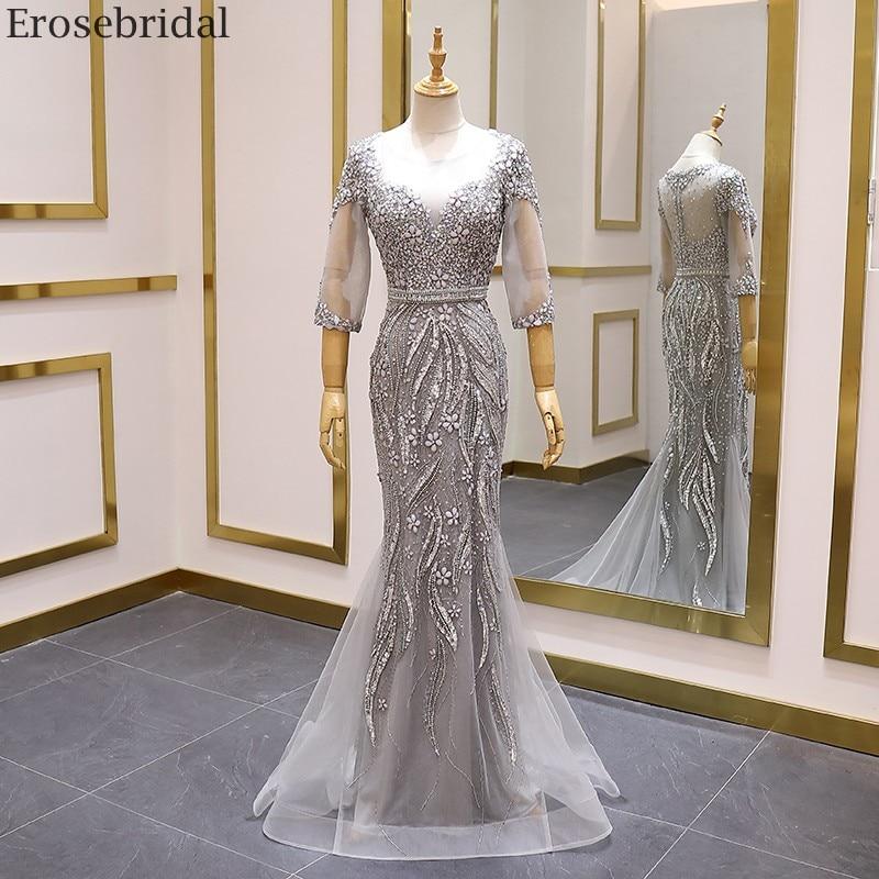 Erosebridal Grey Prom Dress Long Half Sleeve Luxury Beads Mermaid Evening Dress 2020 New Trend See Through Back Sweep Train