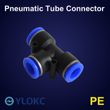 T-Type Pneumatic Pipe Fittings Connector Quick Push PE Connector 4mm 6mm 8mm 10mm 12mm 14mm 16mm For Air Water Connecting