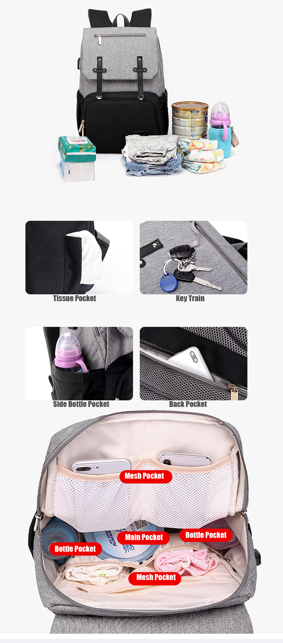 H5773ec07a34b4d2c943c866d7092092aO Baby Diaper Bag with USB Port Waterproof Nappy Bag Mommy Backpack Laptop Bag Maternity Bags With Rechargeable Bottle Holder