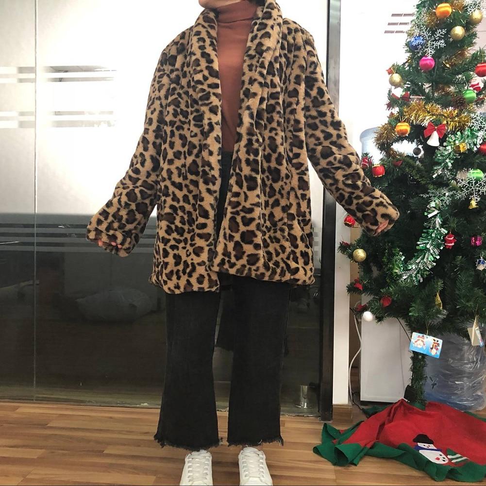 Leopard Coats 2019 New Women Faux Fur Coat Luxury Winter Warm Plush Jacket Fashion artificial fur Leopard Coats 2019 New Women Faux Fur Coat Luxury Winter Warm Plush Jacket Fashion artificial fur Women's outwear High Quality