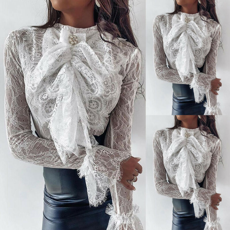 Brand New Gothic Women Lace Bowknot Blouse Office Ladies Elegant Ruffle Solid White Shirt Loose Female Blouse Women Clothing