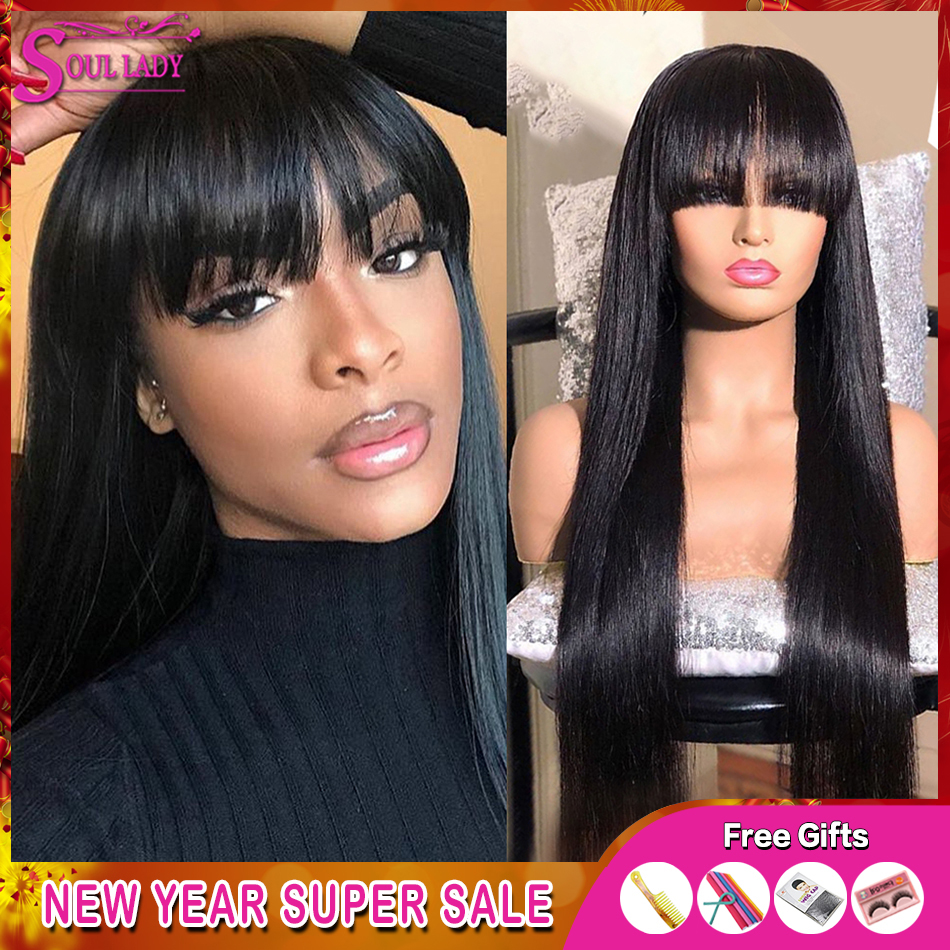 Transparent 13x413x6 360 Lace Frontal Wig Bangs Straight Human Hair Wigs With Bangs 150Remy Brazilian Lace Front Wigs With Bangs