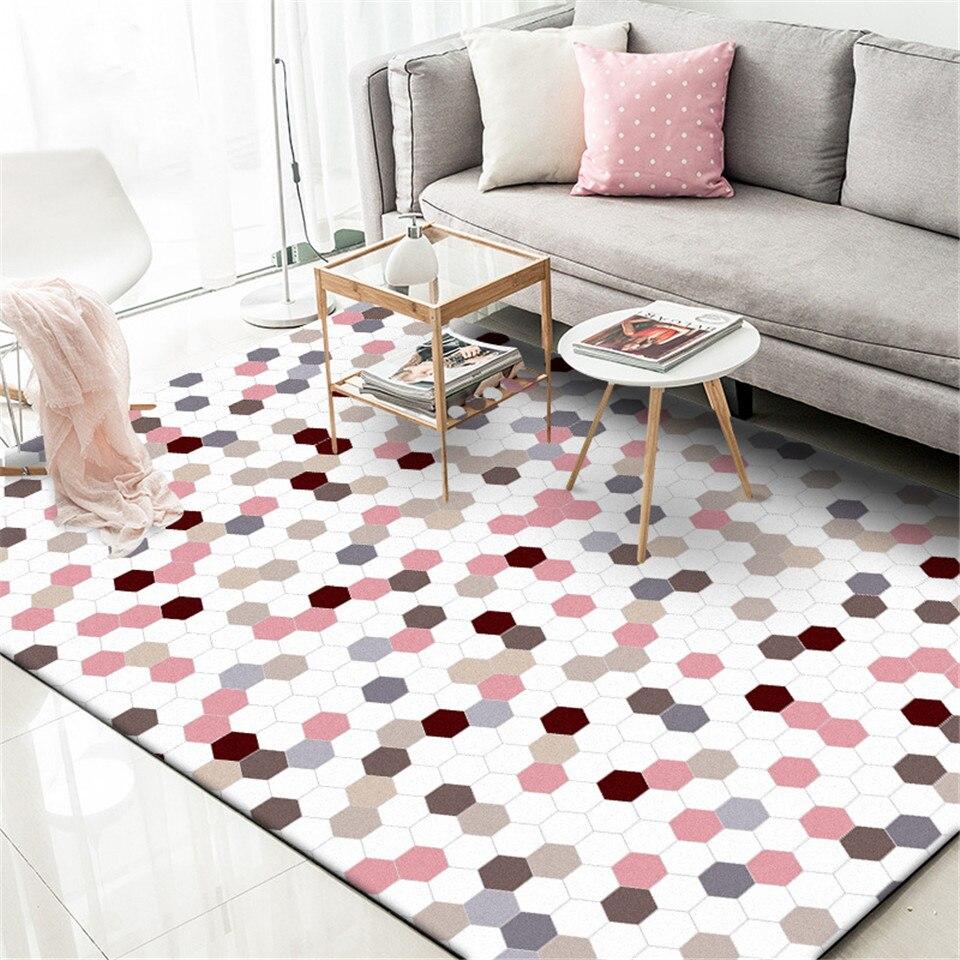 Wishstar Nordic Pink Plaid Girls Rugs Princess Style Children Carpet Rugs Kids Bed Room Rectangle Carpet For Living Room Kitchen