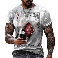 Carte da gioco di moda Lattice Square una stampa 3D T-Shirt da uomo Casual o-collo manica corta T-Shirt oversize allentata top Tees 6XL