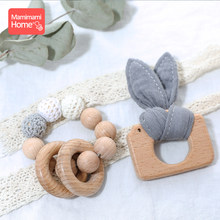 1Set Baby Wooden Teether Nursing Bracelets Beech Rodent Animal Pendant Cotton Bibs Toys Wooden Blank Children'S Goods Rattle Toy(China)