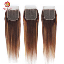 Applegirl 8to 20 Inch Highlight Colored Straight Hair Lace Closure Brazilian Remy Human Hair 4*4  Inch