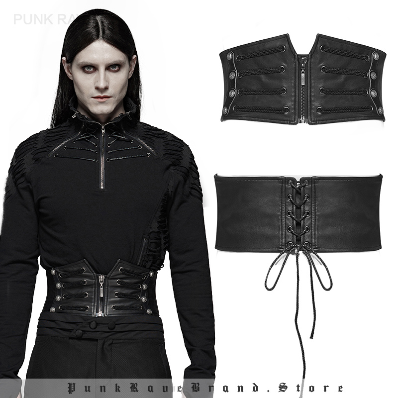 PUNK RAVE Men's Punk Style Handsome Corset Gothic Stage Perform Party Girdle Clothes Accessories Men Wide Waist Belts