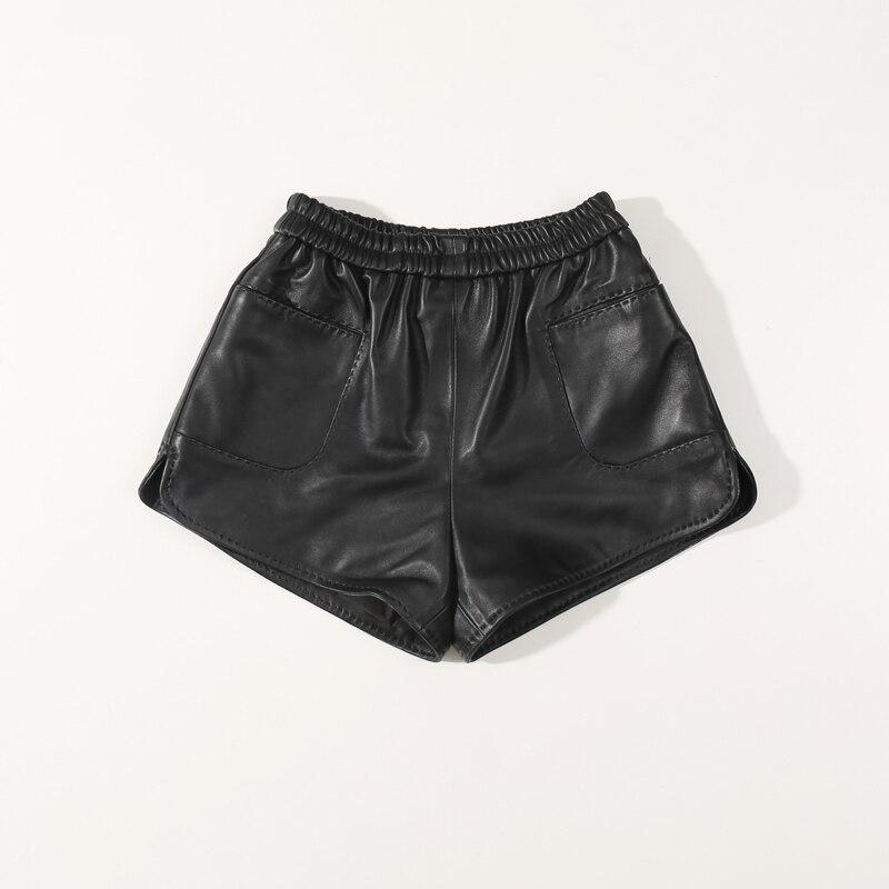 2020 Autumn Sheepskin Elastic High Waist Slim Loose Wide Leg Leather  Shorts Women Summer