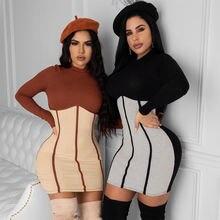 2020 осеннее женское платье мини в стиле пэчворк Повседневный