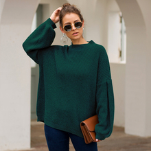 New Fashion Women Half High Collar Lantern Sleeves Loose Casual Pullover Ladies Simple Cotton Solid Knitted Sweater Pull Femme plum perkins collar long lantern sleeves sweater