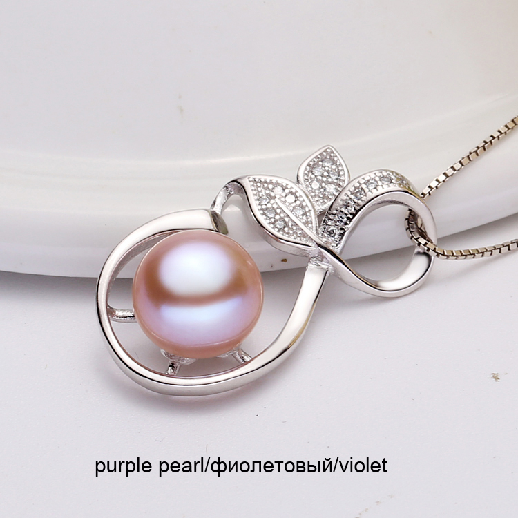 Real Natural Freshwater Pearl Pendant For Women,White 925 Sterling Silver Pendant Necklace Girl Best Birthday Gift