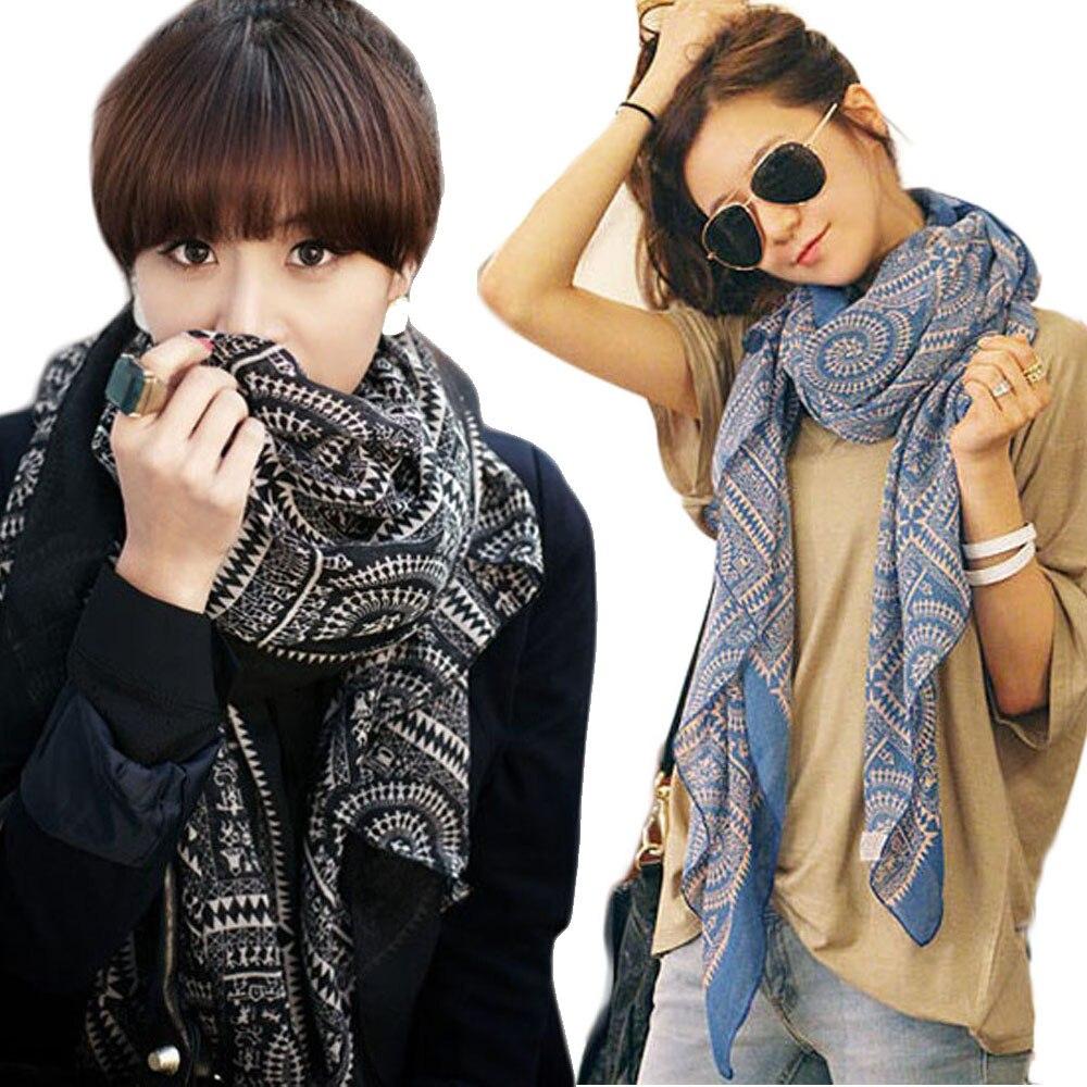 2019 Fashion Spring Winter Scarf For Women Warm Vintage Wraps Lady Women Vintage Long Soft Printed Scarves Shawl Wrap Scarf