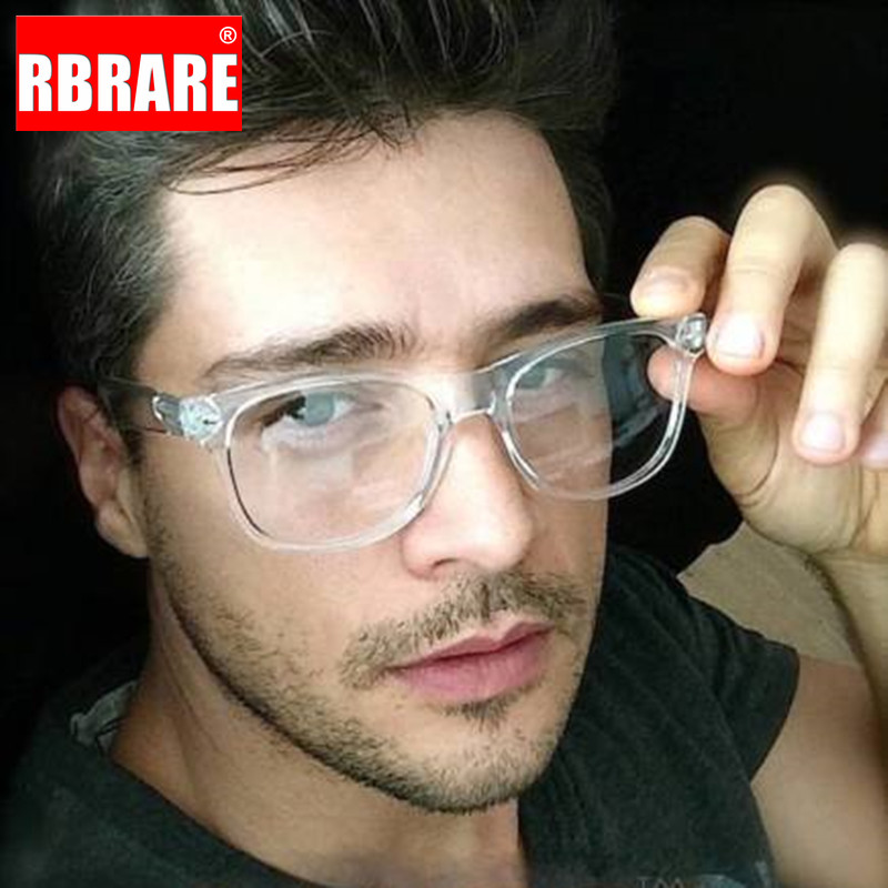 Armação de óculos retrô rbrare, óculos unissex transparente, para uso em computador, contra luz azul