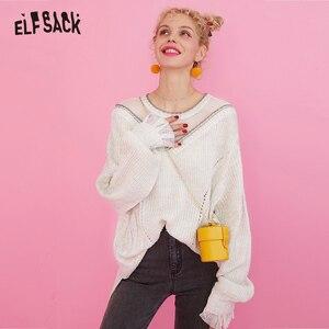 Image 1 - ELFSACK מתוק תחרה טלאי נשים סוודרים, 2019 סתיו אופנה טלאי נצנצים Femme סרוג חולצות קוריאה מזדמן בגדים