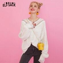 ELFSACK Süße Spitze Patchwork Frauen Pullover, 2019 Herbst Mode Patchwork Glitter Femme Gestrickte Tops Korea Casual Kleidung