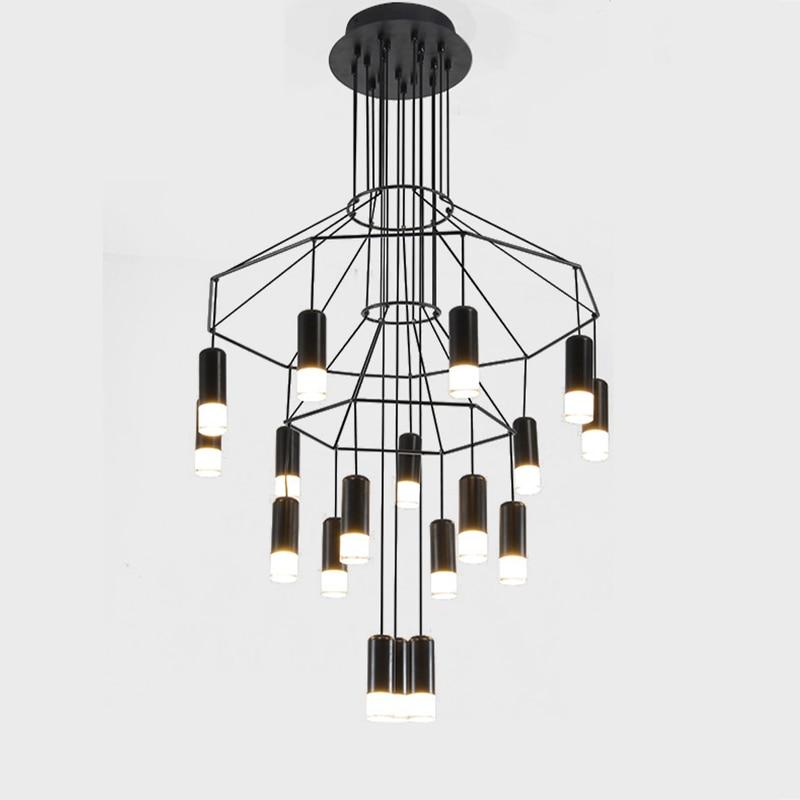 Designer de iluminação lustre moderno para sala estar jantar quarto nordic wireflow lobby escada loft cozinha lâmpadas penduradas