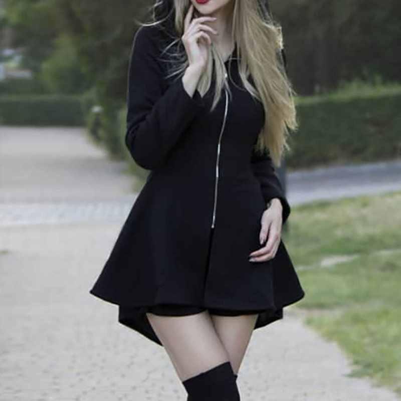 Gotycki czarny Pentagram na zamek błyskawiczny z kapturem Mini sukienka Goth Harajuku Punk Kpop na co dzień dziewczyna z długim rękawem sukienka 2019 jesień zima kobiety