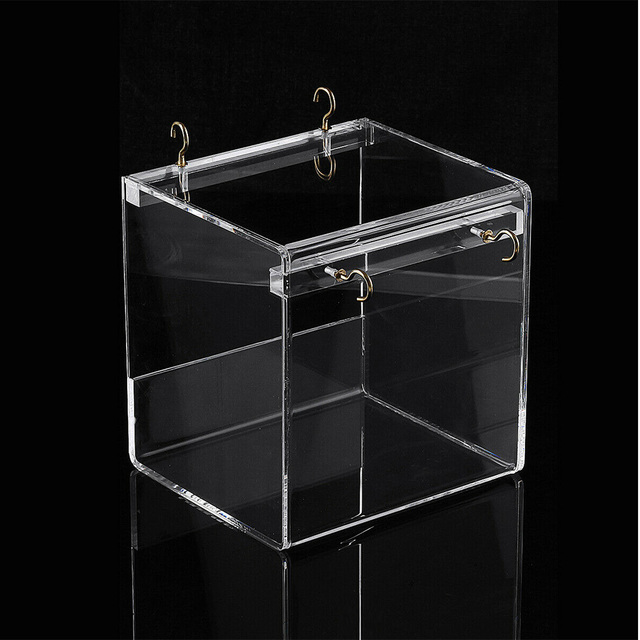 Shower With Hanging Hooks Transparent House Bird Bathtub Spacious Cleaning Parrots Acrylic Pet Supplies Cage Cockatiel Portable 3