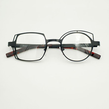 Retro black asymmetric round and square frames female and male myopia optical prescription