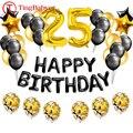 37 шт. черного и золотого цвета номер 25 фольга, латекс воздушные шары 25th С Днем Рождения вечерние украшения для взрослых женщин двадцать пять ...