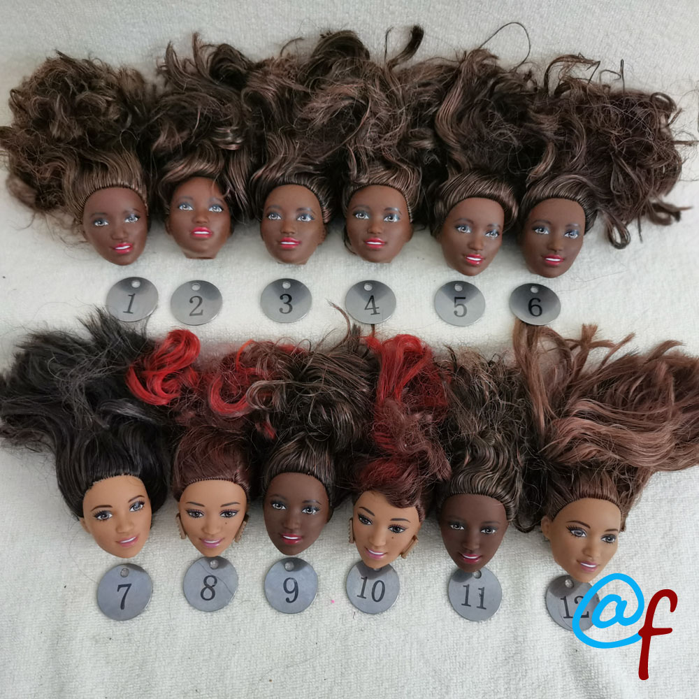 B7-2  Original Foreign Trade Africa Beauty 1/6 OOAK NUDE Rarely Doll Head Mussed Black Or Brown Hair For DIY Soft PVC Head