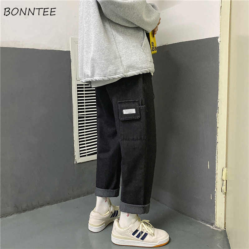 Mannen Jeans Cargo Broek Effen Enkellange Plus Size 2XL Mens Harajuku Leisure All-Match Studenten Trendy Eenvoudige ulzzang Losse