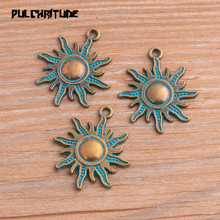 Jewelry Sun-Charms Nature-Pendants Handmade DIY Antique Making-Findings Green for 10pcs