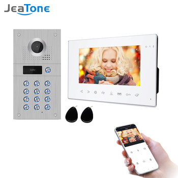 Jeatone 7 Inch Wireless Wifi 960p Video Intercom for Home IP Video Doorbell Fingerprint Unlock HD  Screen Wifi Intercom System build in battery long time standby wireless wifi 720p ip doorbell intercom system
