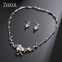 ZAKOL New Classic Cubic Zirconia Flower Earrings Necklace Set Bridal Jewelry for Women Wedding Dinner Anniversary Gift FSSP297(China)