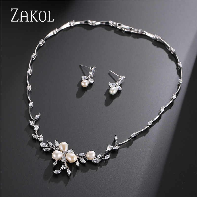 ZAKOL New Classic Cubic Zirconia Flower Earrings Necklace Set Bridal Jewelry for Women Wedding Dinner Anniversary Gift FSSP297