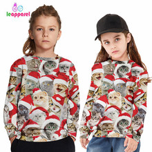 LEAPPAREL 2019 Family Christmas Matching Clothes Cute Cat Kitten Parents Children Hoodies Sweatshirt Outfit Fall Top Tee