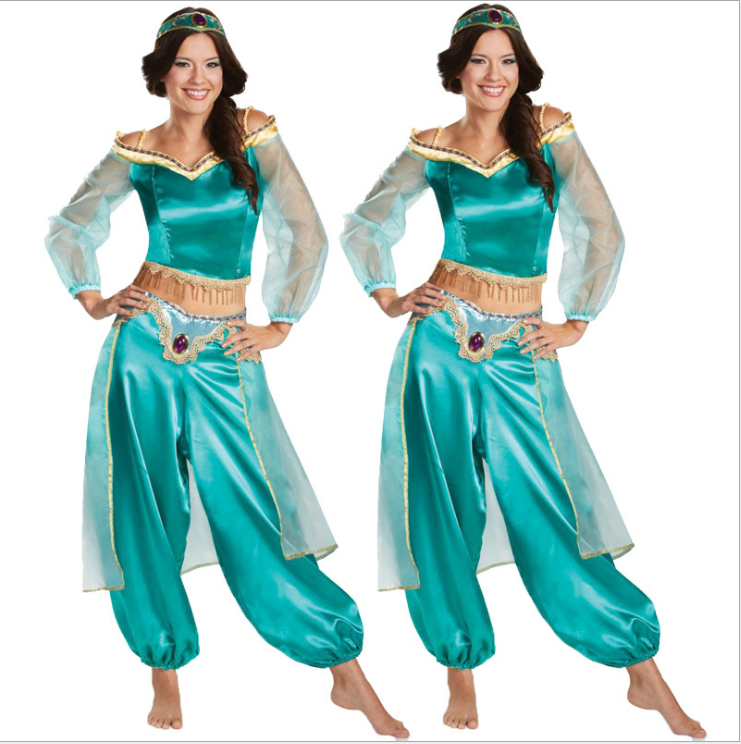 Brand New Halloween Costume Aladdin Magic Lamp Princess Jasmine Adult Cosplay Costume Female High Quality Party Costume