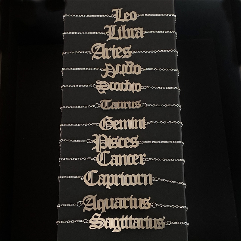Zodiac Sign Letter Ankle Bracelet Women Boho Jewelry Horoscope Old English Constellation Tobilleras Pulsera Para Tobillo Taurus