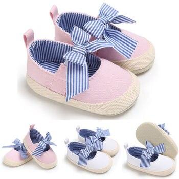 Toddler Infant First Walkers Newborn Baby Girl Bowknot Crib Shoes Prewalker Non-slip Kids Soft Sole Lovely